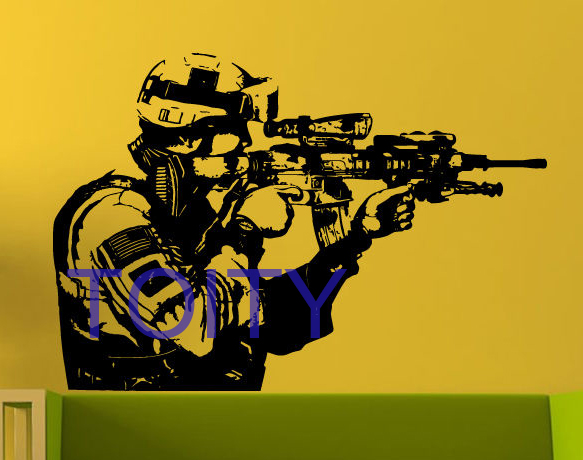 Military Soldier Wall Sticker Sniper Army Man Vinyl Decal Room Decor ...