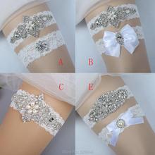 С фабрики, сексуальные растягивающиеся кружевные свадебные подвязки с аппликацией в виде кристаллов, набор ремней для подвязки ног невесты с бантом ручной работы