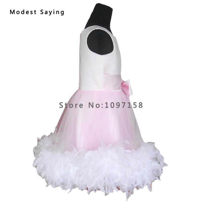 Gražus rožinis kamuolys suknelė plunksnų gėlių mergaitė - Suknelės vestuvėms - Nuotrauka 3