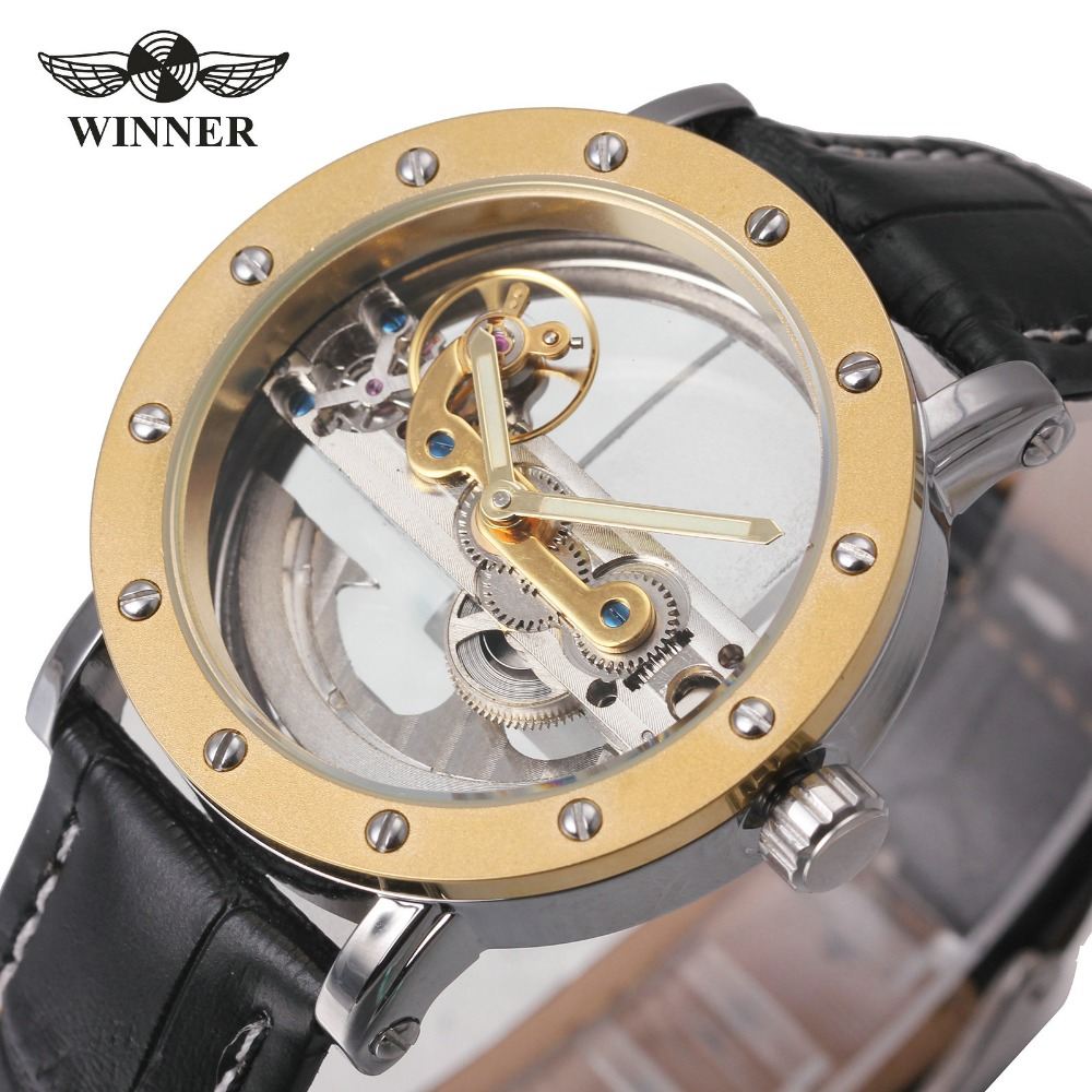 WINNER Automatic Mechanical Watches Men Luxury Brand Golden Bridge Leather Strap Casual Vintage Skeleton Watch Clock relogio стоимость