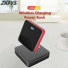 ZKFYS 16000mAh Mini Wireless External Power Bank Dual USB Fast Charging Pack 2.1A Quick Charge Aluminium Alloy Mirror Powerbank