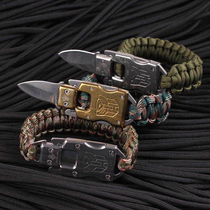 Multi-functional Outdoor Bracelet Camping Hiking Survival Gear Self denfence Multi Tool Paracord With mini Knife Bracelet