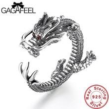 GAGAFEEL VINTAGE Cool มังกรแหวนผู้ชายแฟชั่น 925 เงินสเตอร์ลิงสัตว์ชายวันเกิดของขวัญเครื่องประดับแหวนเปิด Drop Ship