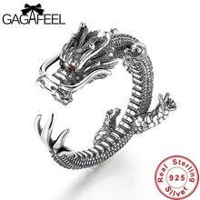 Gagafeel vintage legal dragão masculino anéis moda pura 925 prata esterlina animal presentes de aniversário dos homens jóias aberto anéis do navio da gota