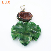 LUXjewelry Hand carved agates leaves pendant natural druzy geode charms for necklace making 925 sterling silver drusy jewelry