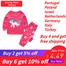 Купить с кэшбэком SAILEROAD 2-7 Years Girls Unicorn Pajamas Sets Baby Girl Long Sleeved Sleepwear Suits Children Clothing Kids Clothes for Autumn