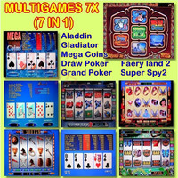 Hot Sale Multigame 7X board(60 95%) Casino game pcb Red Slot Game Board 7 in 1 poker games for Jamma gambling Machine Kits