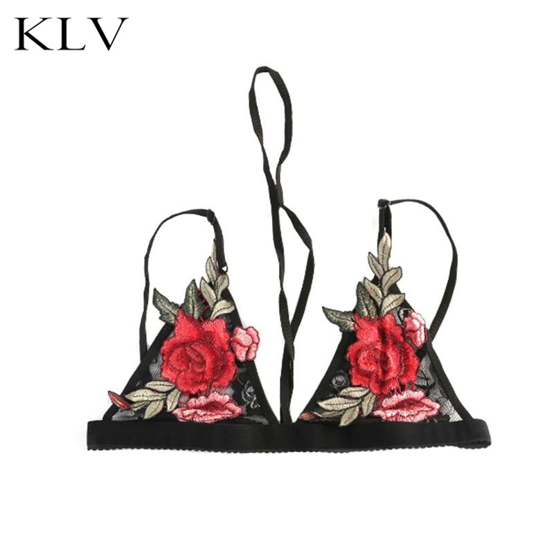 Women Sexy Floral Lace Cup Bralette Halter Bandage Strappy Cami Bustier Rose Floral Embroidered Applique Patch Lingerie Club Bra