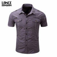 US SIZE S 3XL Solid Color 2017 Summer Fashion Men Short Sleeve Shirts Military Cago