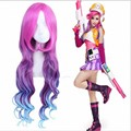 Fashion Cosplay Hair Wig Anime League of Legends LOL Miss Fortune Pink purple blue ombre color synthetic hairs peruca