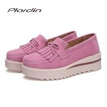 Plardin nouveau femmes chaussures mocassins baskets en cuir véritable plate forme plate frange mocassins dames femme mode chaussures femme