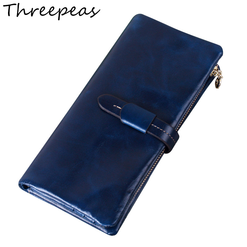 THREEPEAS Women's Wallets Genuine Leather Fashion Brand Cowhide Wallet Long Design Clutch Female Purse Portefeuille Femme 2017 unique design women fashion leather wallet leisure clutch bag long purse girl female portefeuille mme a8