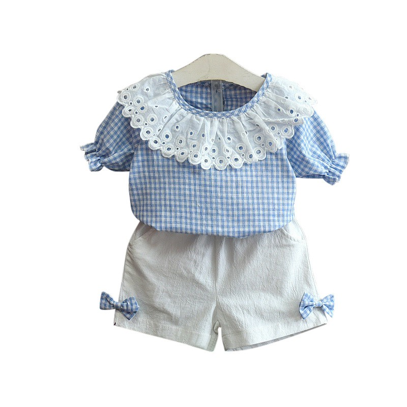 2pcs female baby sets lace neck summer stripe top + white short sleeved shorts two piece girls  set children