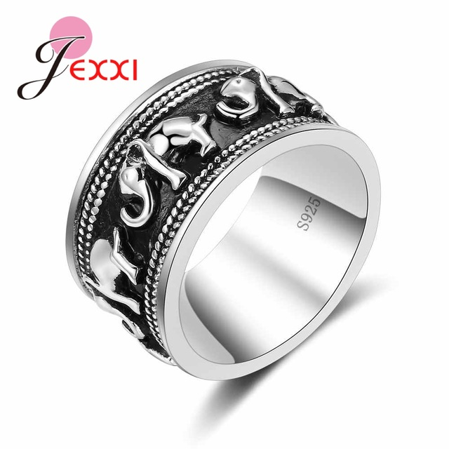 JEXXI S90 Silver Rings For Women Man Elephant Silver Ring For Girl 2018 Fashion