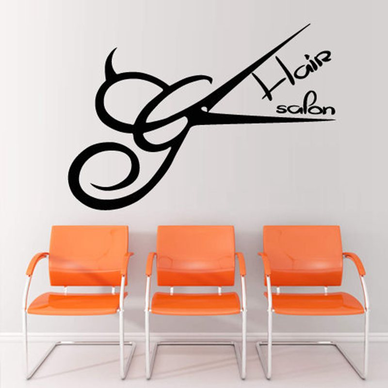 Hair Salon Wall Decor aliexpress : buy hair scissors decal barber shop sticker hair