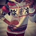 2016 Otoño Invierno nuevas mujeres de la moda de impresión nieve Étnicos Étnicos Sudaderas Con Capucha tops Navidad