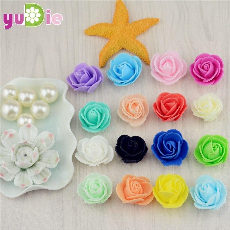 10 unids/bolsa puede mezclar color mini cabeza de espuma pe flor color de rosa a