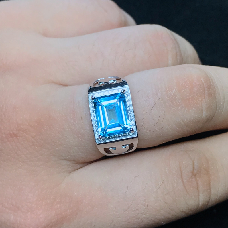 Natural topaz men's ring, 925 silver, exquisite craftsmanship, simple style, beautiful color