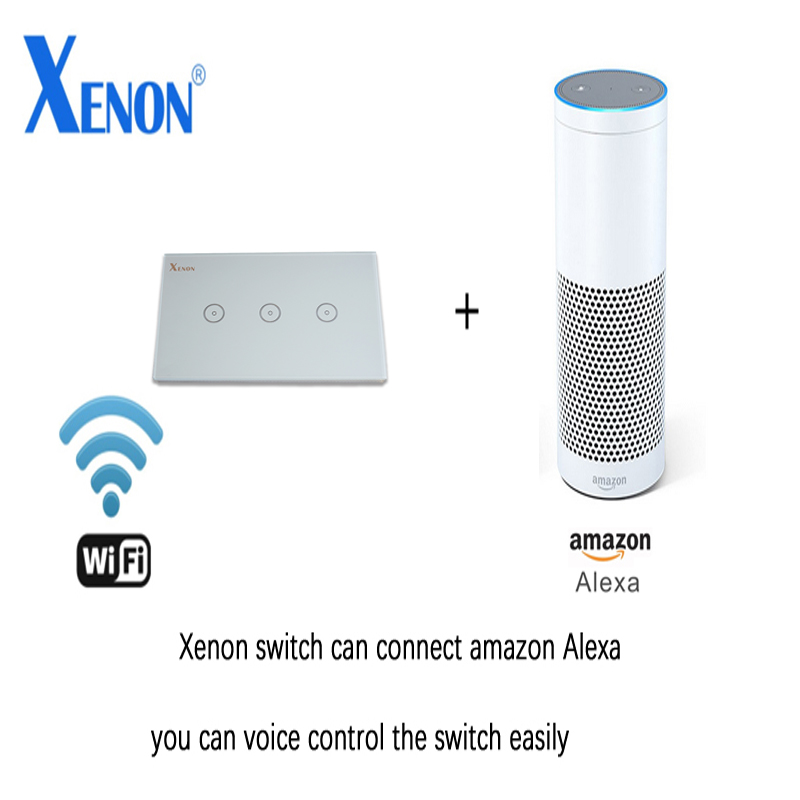 Work with Amazon Alexa Xenon Wall Switch  Smart Wi-Fi Switch Glass Panel smart mobile control via App 3gang US Touch Light wall smart home us black 1 gang touch switch screen wireless remote control wall light touch switch control with crystal glass panel