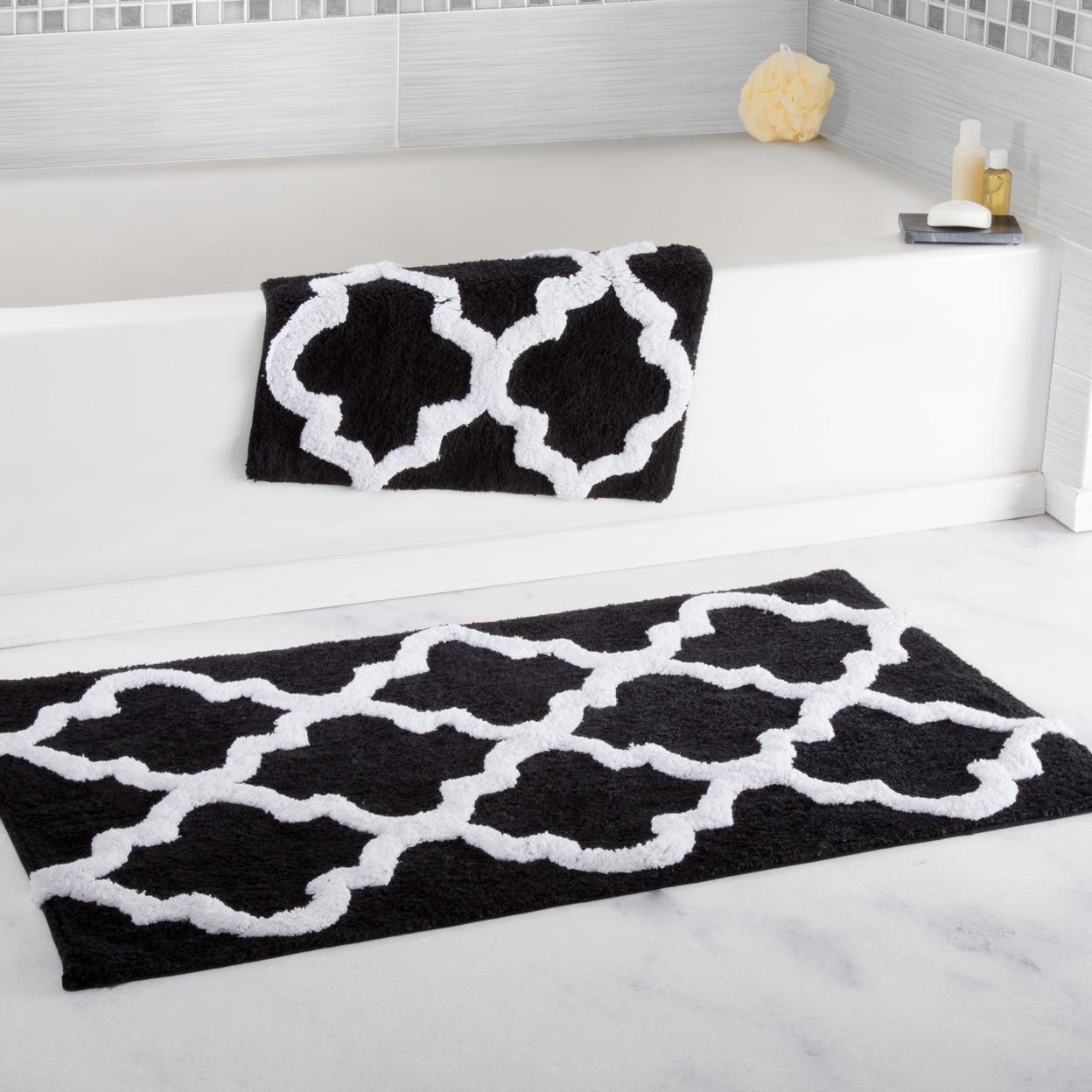 Lavish Home 100% Cotton 2 Piece Trellis Bathroom Mat Set - Black (1)