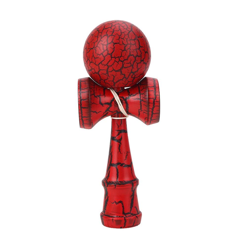 60 мм деревянный шар Kendama Skill Toy Matte Hand-Eye Coordination Lightning красочный привлекательный стержень и мяч детские игрушки мяч - Цвет: Red and black