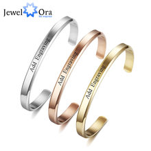 6mm Width Personalized Gift Engraved Name ID Bangle For Women Jewelry Stainless Steel Bracelets & Bangles (JewelOra BA102300)(China)