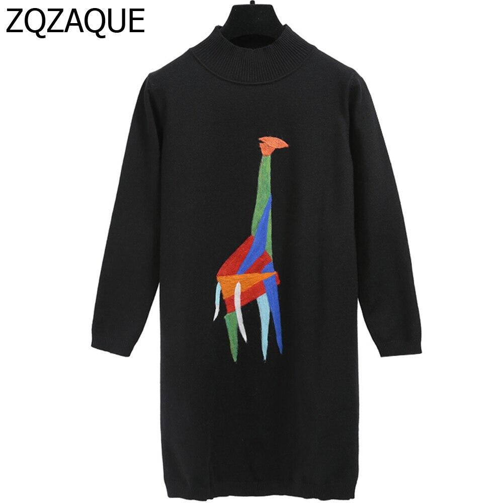 Nuovo Temperamento Womens Long Nero Lavorato A Maglia Pullover Moda Giraffa Modello Mezza Dolcevita Ragazze Termico Spessore Base Tops SY1417