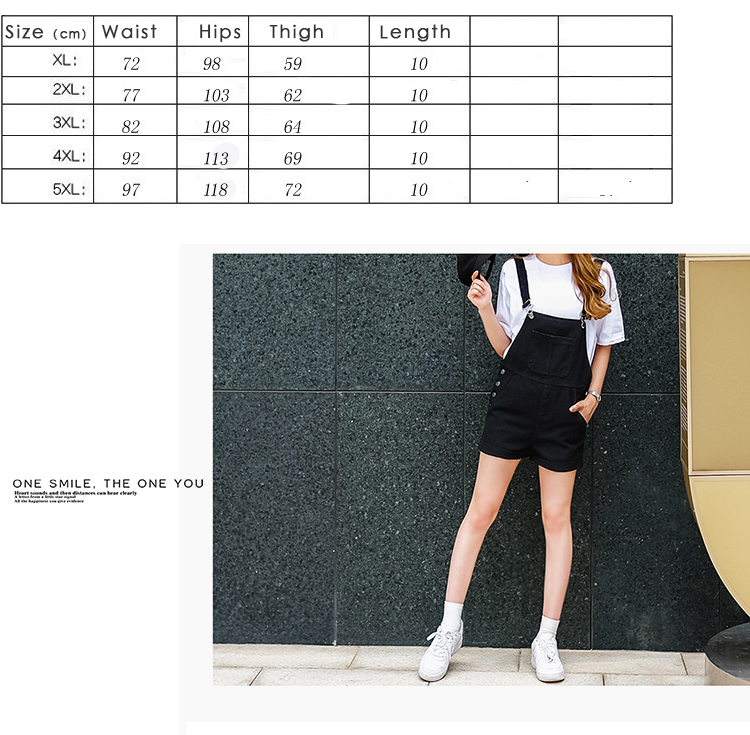 2018 summer large size women's black thin strap shorts fat mm cuff loose Korean plate stretch denim shorts (4)