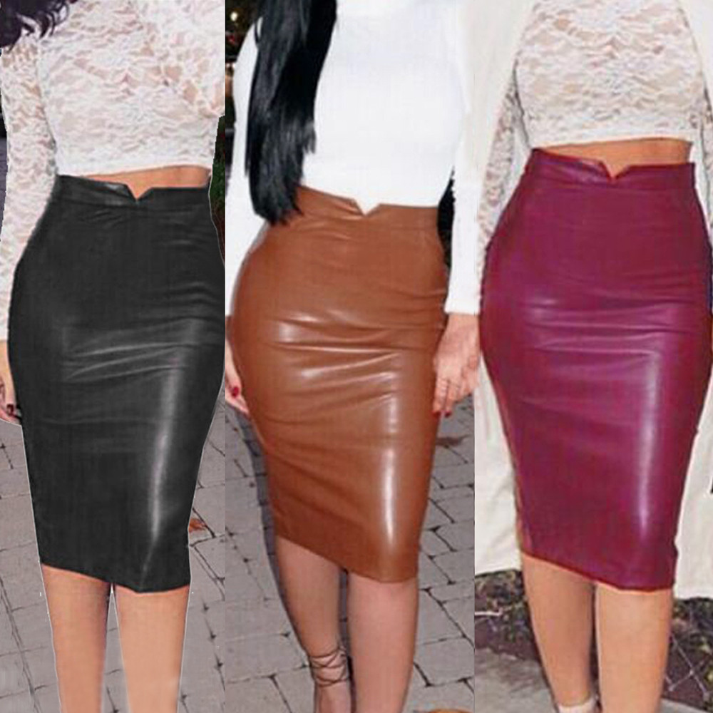 KLV 2017 Women Leather Skirt High Waist Slim Party Pencil Skirt Y7629