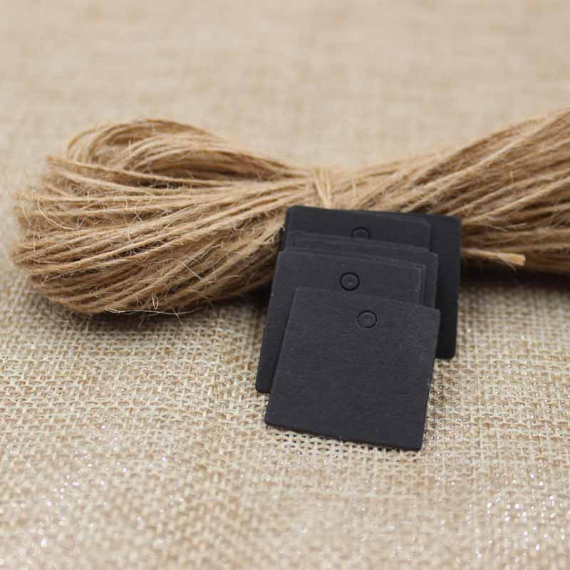 Lovely Small Square Shape Party Decoration Paper Cards Kraft /black /white Gift Tag Hang Tag 200pcs +200 Hemp String