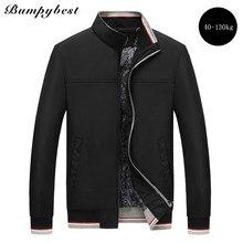37c29b04e35ec Bumpybeast 2018 Spring Autumn fashion solid color stand collar men s jacket  fat plus size 8XL balck