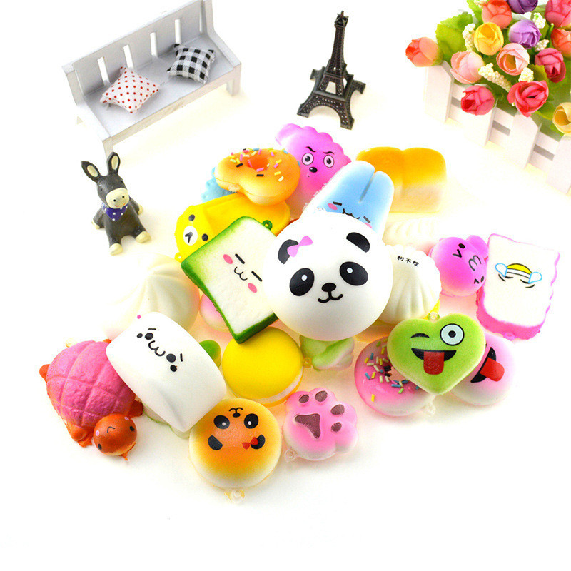 20pcs/pack Kawaii Cartoon Squishy Slow Rising Squeeze Toys Mini Food Bread Squishy Antistress Vent Toy Fun Gifts Key Pendant