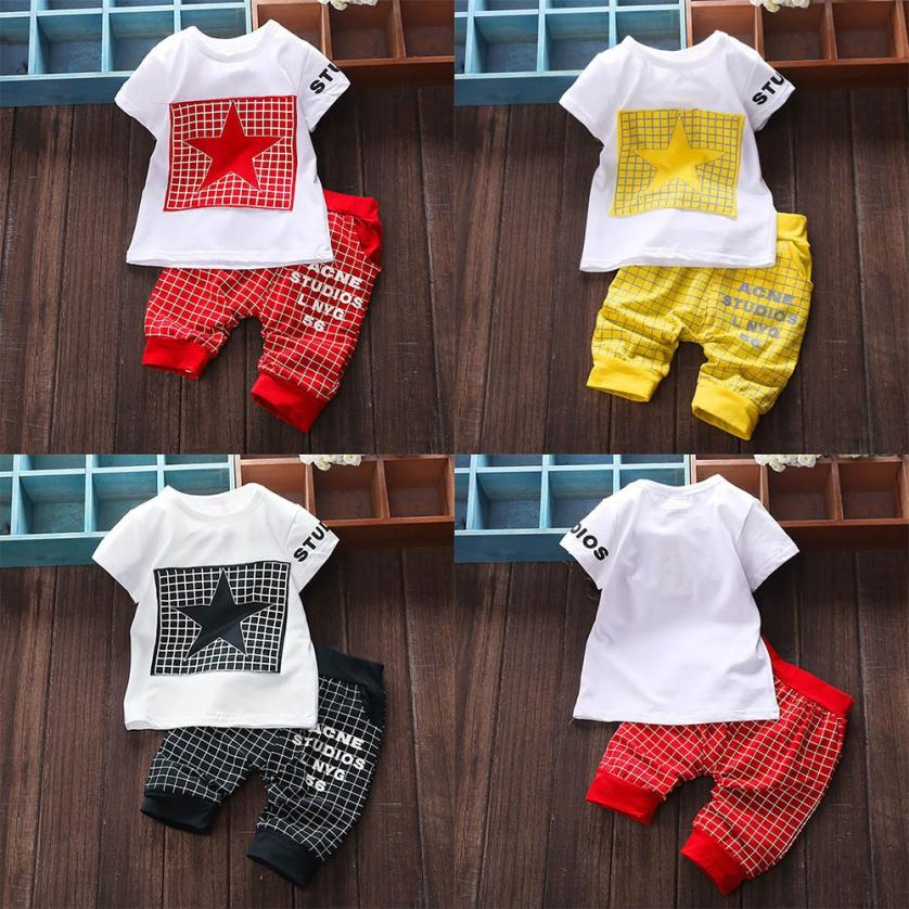 Popular 2Pcs Infant Kid Boys Girl Clothes Letter Star Print Plaid Tops+Pants Outfits Clothes Beautiful Infantil vestido infantil