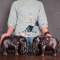 Резьба по дереву Слон Пара украшения Лаки Фэн шуй гостиной вход Аксессуары Ebony ручной работы одноцветное резьба по дереву Craft