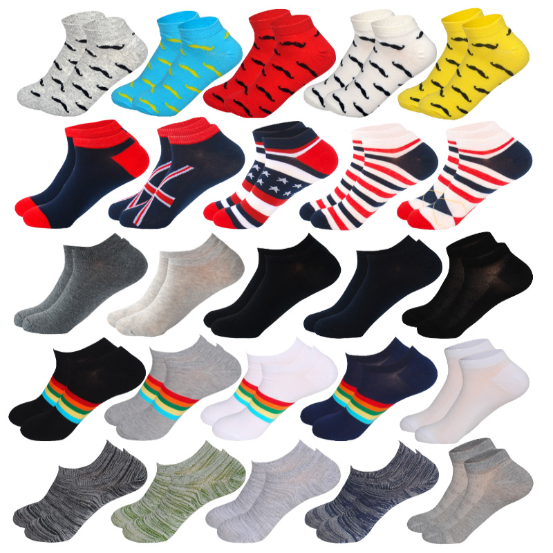 5Pairs/Lot Spring&Summer Men's Casual Thin Boat Socks No Show Invisible Moustache Striped Rainbow Pattern Cotton Bamboo Socks