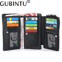 GUBINTU Mens Wallet Leather Genuine Card Holder First Layer Cowhide High Capacity Zipper Multifunction Purse For
