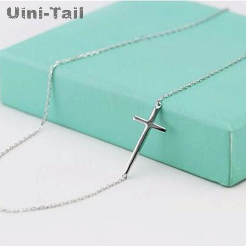 Korea 925 sterling silver personality cross necklace female clavicle chain short paragraph sweet simple wild student jewelry