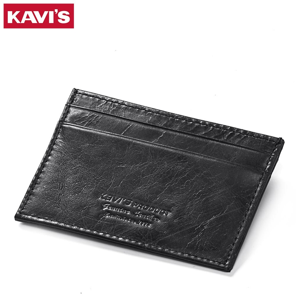 KAVIS Cow Leather Credit Card Wallet Black Color Credit ID Cards Holder Small Wallet Men Coin Purse Slim Thin Male Mini Walet