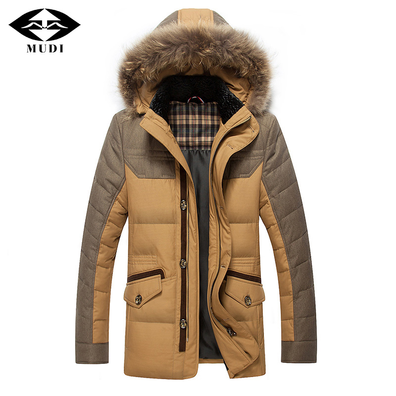 MUDI Newest Mens White Duck Down Coats Mid long Winter Thick Warm Overcoat With Real Fox