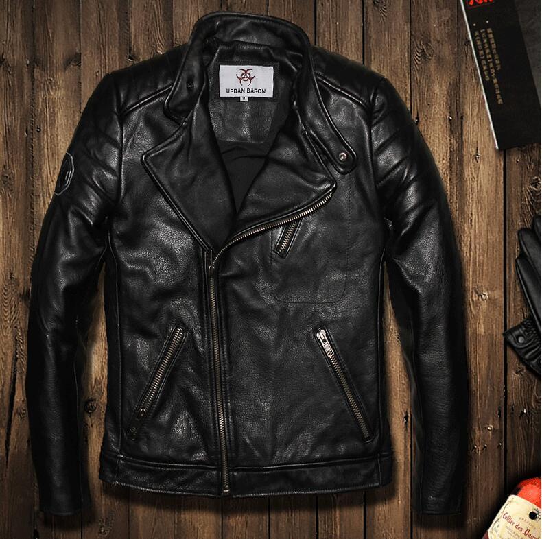 Factory new first layer cow leather 100% realleather collar men oblique zipper jacket slim short coat men tide leather jacket