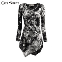 Cova Sophy Women Fashion Blouse New Fashion Casual O Neck Long Sleeve Blouses Print Female Shirts
