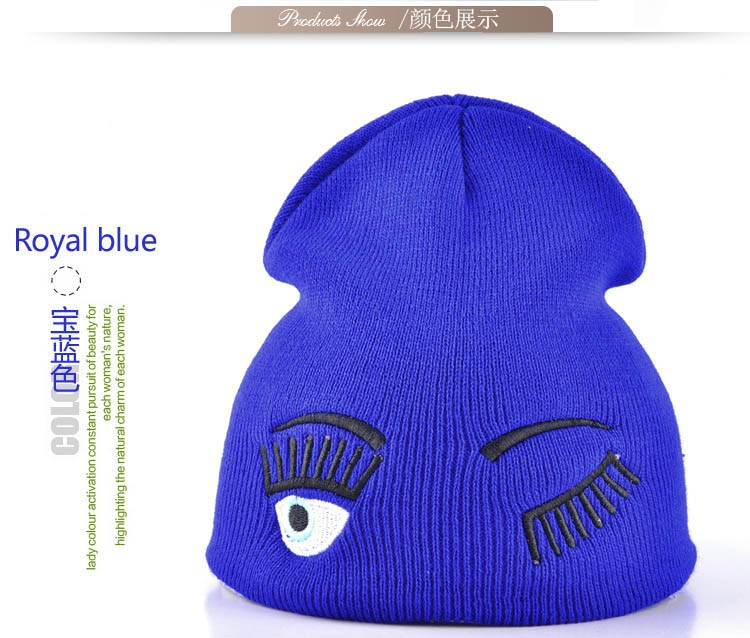 2017 new winter hats for woman striped solid caps girl Knit cap woman eye lashes facial expression beanies gorro 11