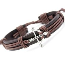 Bow Arrow Star Eiffel Tower Crown Handcuffs Dog Paw Fish Turtle Skull Dragon Charm Leather Bracelets Women Men Unisex Jewelry