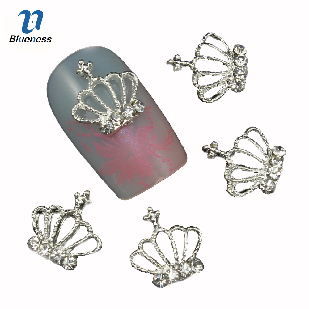 цены Blueness 10Pcs 3D Nail Art Rhinestone Decoration Glitter Nails Tips Silver Crown Charm Jewelry Nail Studs Tools Wholesales TN550
