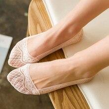 6pcs 3 pares de meias de barco de renda para mulheres chinelos antiderrapante invisível sapato forro meias de verão não-deslizamento sem mostrar baixo corte meias
