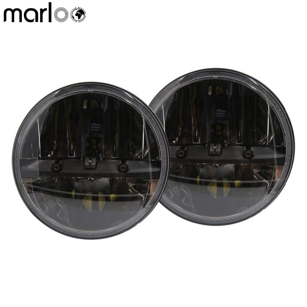 Marloo 2Pcs 7Inch Round LED Headlights Daymaker Replace Projector Auxiliary Motorcycle Headlamp for 07-18 Jeep Wrangler JK TJ LJ windshield pillar mount grab handles for jeep wrangler jk and jku unlimited solid mount grab textured steel bar front fits jeep