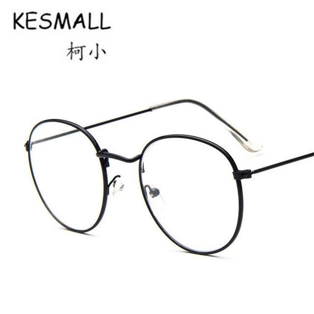 KESMALL Eyewear Women Men Fashion Plain Glasses silver Metal Glasses ...