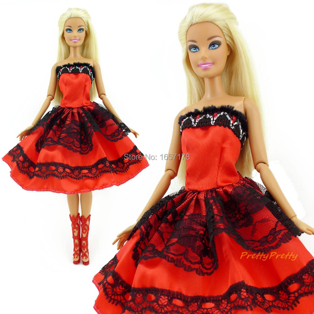 Uncategorized Barbie Skirt randomly pick 5 pcs wedding dress princess gown fixed style skirt doll outfit for barbie girl best gift baby toy in dolls ac