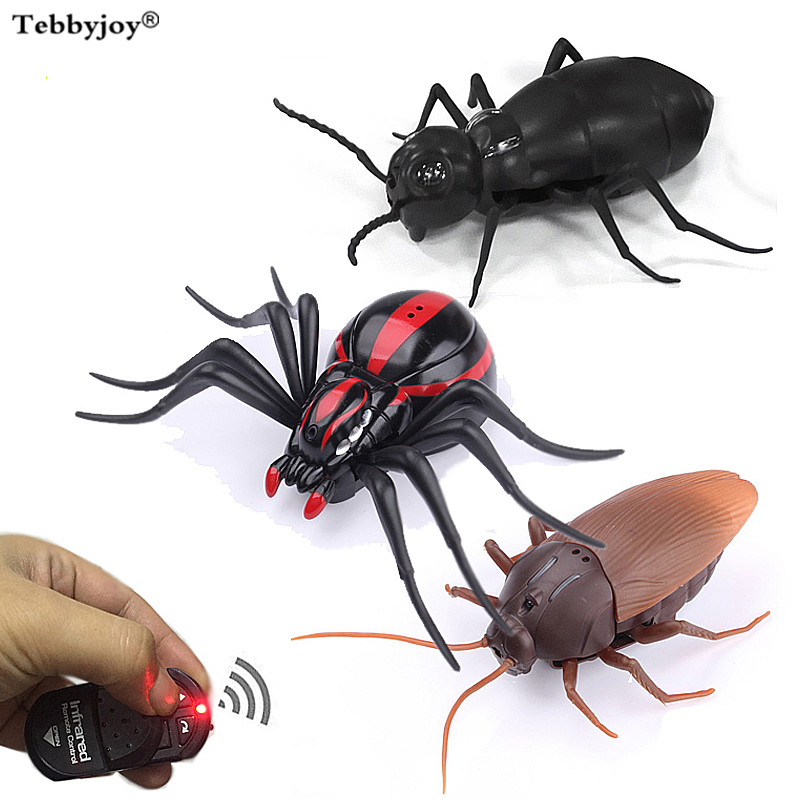 Funny Prank Toys Simulation Cockroach/Spider/Ants Remote Control Spiders Infrared Toys Eyes Shine Tricky Scary Toy Christmas Toy