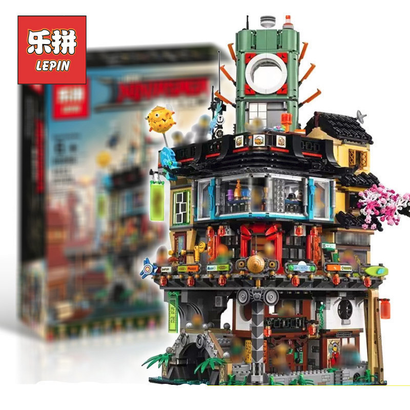 Lepin 06066 4953pcs Ninja City Masters of Spinjitzu Building Blocks Bricks Toys Compatible LegoINGly Ninja 70620 For Boys Gifts lepin 15008 2462pcs city street green grocer legoingly model sets 10185 building nano blocks bricks toys for kids boys